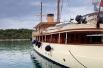 Old fashioned retro steam boat at dock